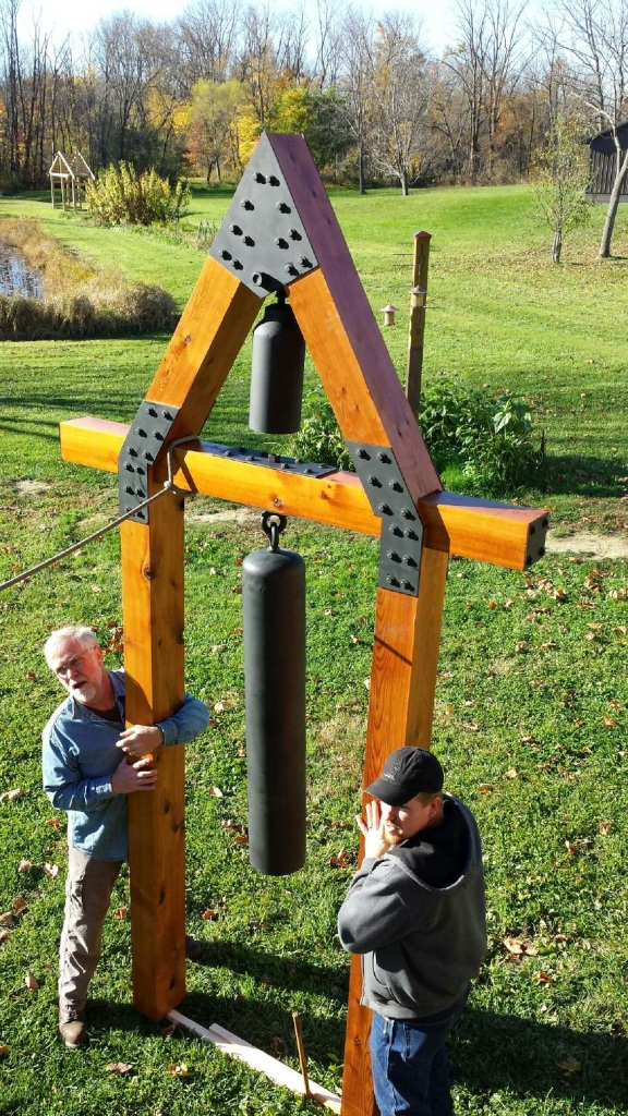 landscape art, garden sculpture, garden bell, repurposed metal art, art from the farm, Bit of Earth Farm,
