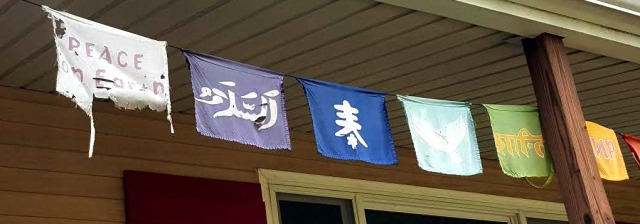 Porch peace flags still hanging in there.